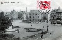 carte postale ancienne de Tournai Place de la Gare