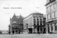 carte postale ancienne de Tirlemont Place de la station