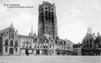 carte postale ancienne de Furnes Tour st-Nicolas