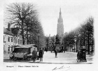 carte postale ancienne de Bruges Place Simon Stévin